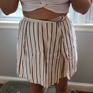 Tan, white and gold striped skirt